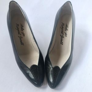 VINTAGE Navy Leather Reptile Pumps Heels Shoes 5.5
